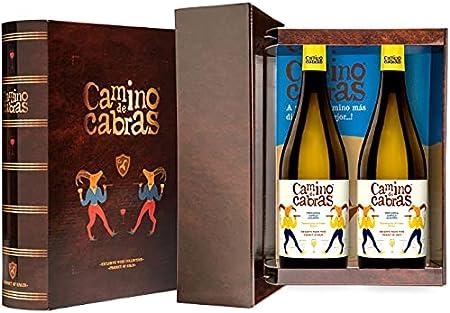 CAMINO DE CABRAS Estuche de vino - Ribeiro - vino blanco – D.O. Ribeiro – Producto Gourmet - Vino para regalar - Vino Premium - 2 botellas x 750 ml.