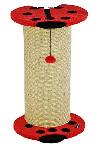 nanook Kratzsäule für Katzen Beetle, Plüsch mit Sisal, Marienkäfer Motiv rot schwarz, Höhe: 65 cm