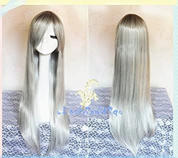 Amazon.com : 80cm Long Gray Hitman Reborn Superbia Squalo Cosplay Wigs, Costume Wigs for Party UF037 : Beauty