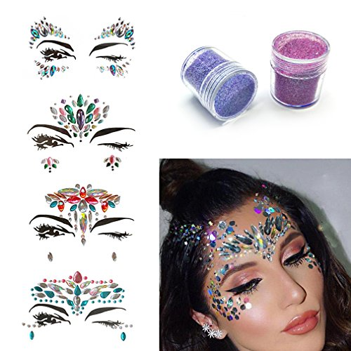 HUAYF Rhinestone Mermaid Face Jewels Tattoo 4 Sets Festival Rainbow Tears Temporary Stickers And Free Body Glitter