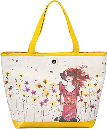 """16"""" Yellow And Cream Floral Large Canvas Tote Bag Pavilion Gift Company"""