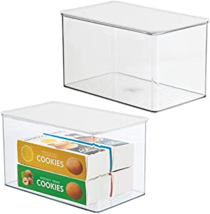 mDesign Plastic Stackable Kitchen Pantry Cabinet or Refrigerator Food Storage Container Box, Attached Hinged Lid - Organizer for Snacks, Produce, Pasta, 2 Pack - Clear/White