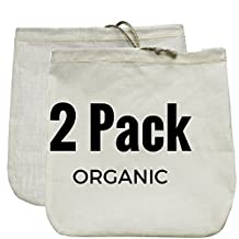 "Organic Nut Milk Bag 2 Pack - Commercial Quality & Reusable - 12""x12"" - Hemp (Sprouts!) + Organic Cotton (Super Strainer)"