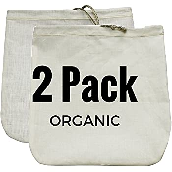 "Nut Milk Bag 2 Pack! Commercial Quality & Reusable - 12""x12"" - Hemp (Sprouts!) + Organic Cotton (Cheese Cloth Strainer)"