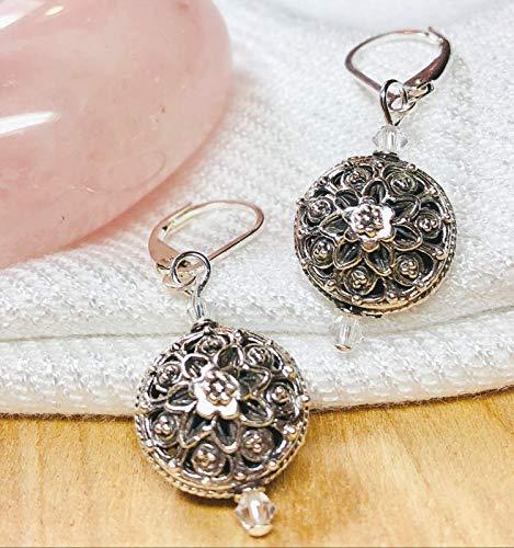 - Artisan Sterling Silver Flower Mandala Bali Beads, Infused w/+Energy