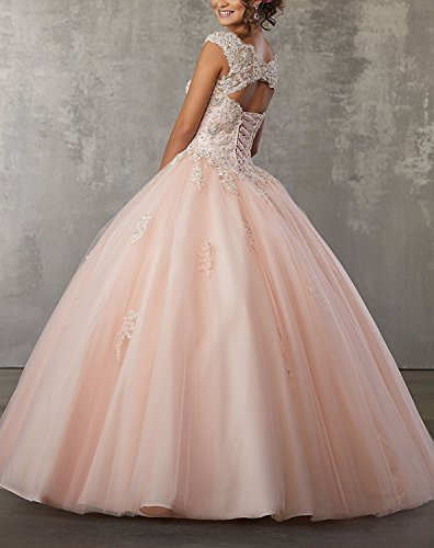 Abendkleider V Perlstickerei Ballkleid Kleider Lavendel Spitze Lang Carnivalprom Quinceanera Ausschnitt Mit Damen wZU5ngxO0q