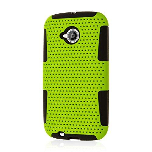 Motorola Moto E Case (2nd Gen), MPERO Fusion M Dual Layered Silicone Polycarbonate Soft Non Slip Textured Mesh Case for Moto E Precise Port Cut Outs - Neon ()