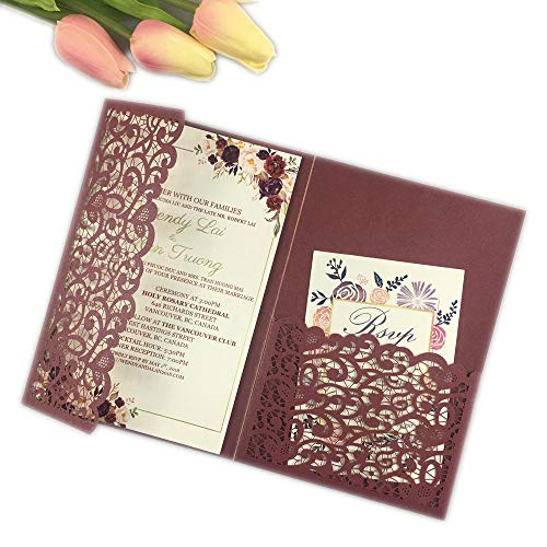 25 sets Burgundy paper Tri Fold Vertico pocket Laser Cut Vintage Wedding Invitations Cards Hollow Carving Greeting invites Engagement Birthday Bridal Show (burgundy)