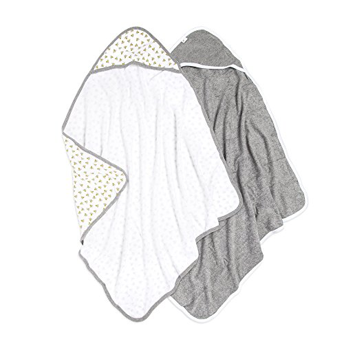 Burt's Bees Baby - Hooded Towels, Absorbent Knit Terry, Super Soft Single Ply, 100% Organic Cotton (Honey Bee/Grey, 2-Pack) ()