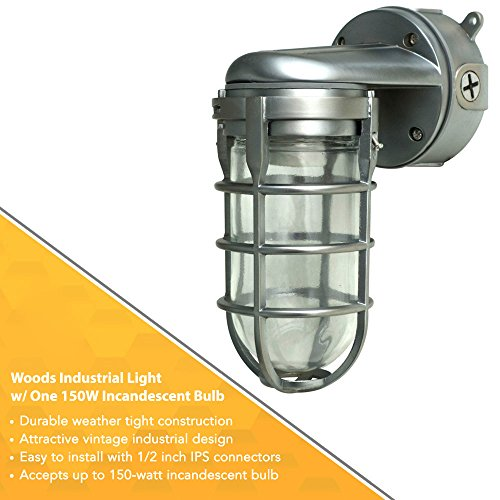 Woods Industrial Light With One 150W Incandescent Bulb, Weather Tight Feature And Ceiling Mount