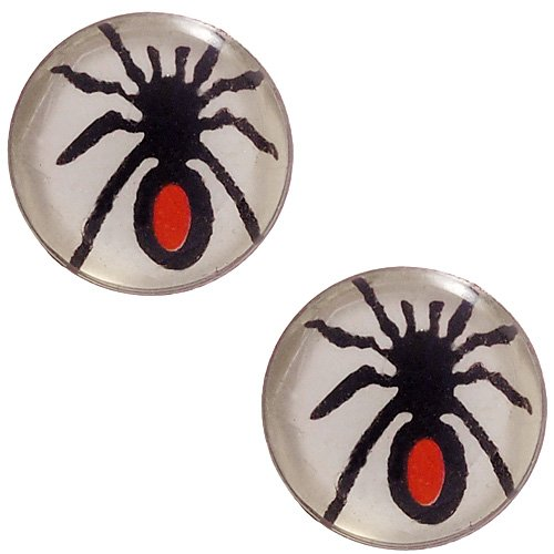 [DIY Jewelry: 1 Pair Resin-Coated Icon Earrings - Spider Black Widow] (Spider Gem Earrings Child)