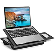 #LightningDeal Adjustable Lap Desk - with 8 Adjustable Angles & Dual Cushions Laptop Stand for Car Laptop Desk, Work Table, Lap Writing Board & Drawing Desk on Sofa or Bed (Black with Mouse pad, 1 Pack)