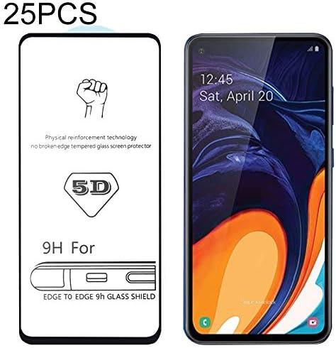 JIANGNIUS 25 PCS 9H 5D Full Glue Full Screen Tempered Glass Film for Galaxy A60