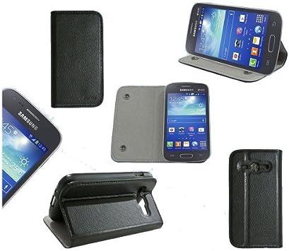 Etui luxe Samsung Galaxy Ace 3 GT-S7270 / GT-S7272 / GT-S7275 Ultra Slim Cuir Style noir avec stand - Housse coque de protection Samsung Galaxy Ace 3 ...