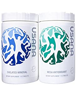Usana Essentials - 4 Week Supply of Total Body Health, Pack of Mega Antioxidant & Chelated Mineral, 112 tablets each