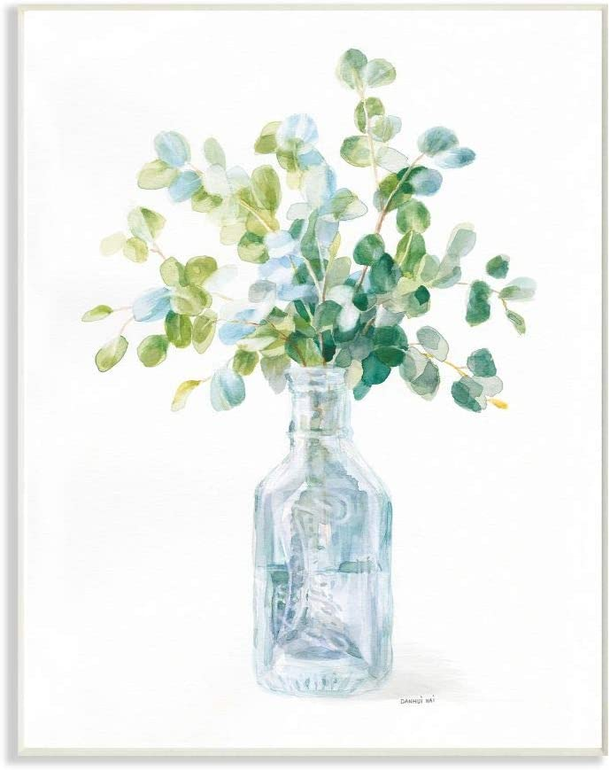 Stupell Industries Flower Jar Still Life Green Blue Painting Wall Plaque, 12 x 18, Multi-Color