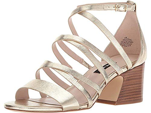 Nine West Women's Youlo Strappy Block Heel Sandal Light Gold Metallic 7.5 M US