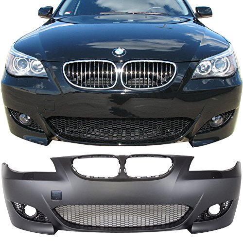 Front Bumper Conversion Fits 2004-2010 BMW E60 E61 SEDAN AND WAGONS | M5 Style PP Black Bumper Cover Conversion Bodykit by IKON MOTORSPORTS | 2005 2006 2007 2008 ()