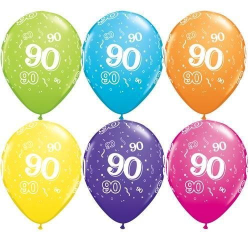 Bright 90th Birthday Party Balloons - Set of 10