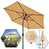 8′ PARASOL PATIO NEW GARDEN PATIO UMBRELLA SUNSHADE MARKET OUTDOOR-BEG Review