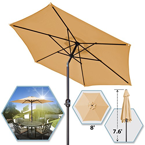 8 Parasol Patio New Garden Patio Umbrella Sunshade Market Outdoor-BEG