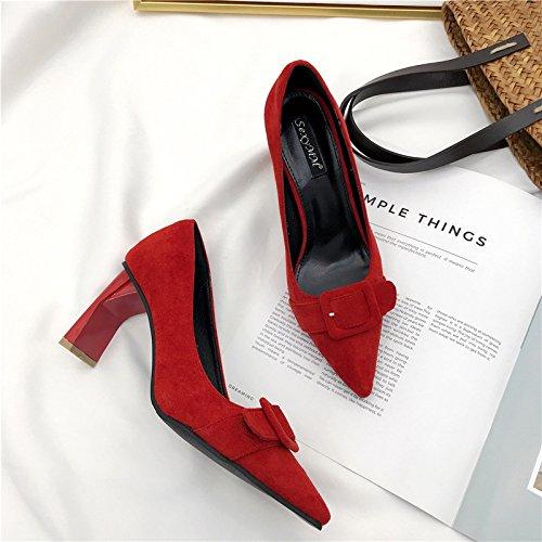 ZHZNVX con scarpe i Le alto donne il singolo e alti moda alla spessore scarpe con tacchi con il partito red di tacco di aawqOrYdHx
