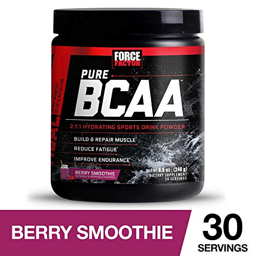 Force Factor Pure BCAA Hydrating Intra-Workout Powder with 2:1:1 BCAA Ratio to Build Lean Muscle, Reduce Fatigue, and Improve Endurance, 30 - Reduce Fatigue