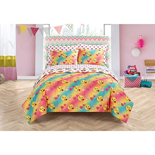 - 5 Piece Girls Blue Pink Yellow Emoji Comforter Twin/Twin XL Set, Emoticon Bedding Rainbow Colors Hearts Kisses Peace Fingers Text Icons Characters Fun Adorable Cute Love, Polyester