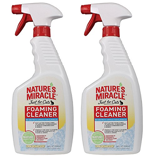 Nature's Miracle (2 Pack) 24oz Foaming Cleaner Spray Bottle Of Pet Pee Stain & Odor Remover, Safe & Natural For Cat & Dog Urine, Feces & Vomit On Carpeting, Clothes & Furniture