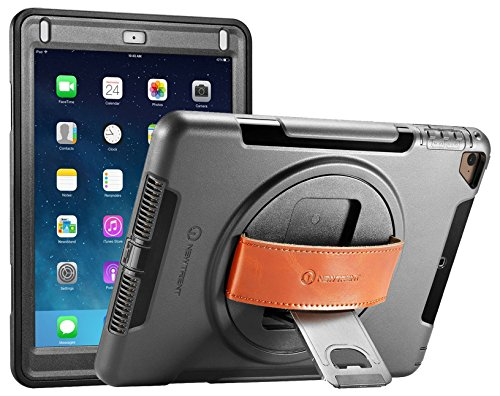 iPad Case - iPad Air Case - New Trent Gladius Rugged Kickstand Case for Apple iPad Air - iPad Air 2 - iPad Pro 9.7 inch - iPad 5th Gen (2017) with 360 Degree Rotatable Leather Hand Strap