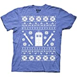 Ripple Junction Doctor Who Christmas Tardis Ugly Sweater T-Shirt (Small, Royal Heather Blue)