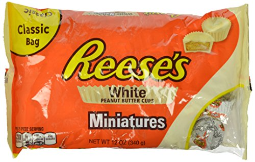 REESE'S Peanut Butter Cups, White Chocolate Candy, Miniatures 12 Ounce (Pack of 4)