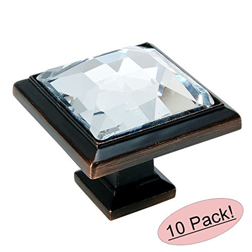 Fusion Hardware Bronze Knobs - Cosmas 5883ORB-C Oil Rubbed Bronze Cabinet Hardware Square Knob with Clear Glass - 1-1/4