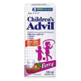 Children's Advil (100 mL, Berry Flavour) Ibuprofen Suspension Dye Free Temporary Fever Reducer