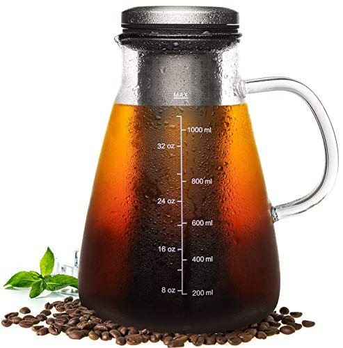 Veken Cold Brew Iced Coffee Maker & Iced Tea Maker-1.0L/34oz Glass Carafe with Removable Double Mesh Stainless Steel Filter, 1.0L