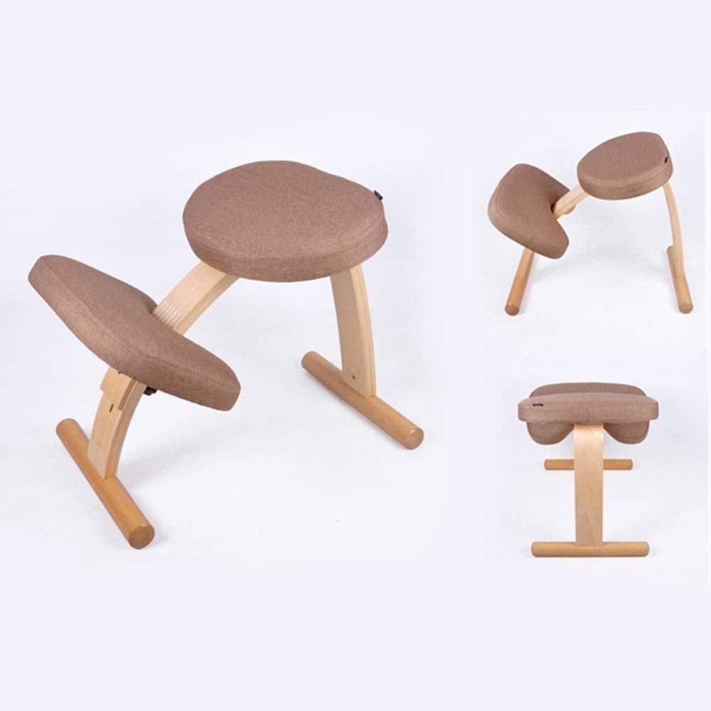 Justerbar ergonomisk kontorsstol linne tyg student anti-puckel knästolar barn korrigerande hållningsstol knästol (färg: Blå) BEIgE