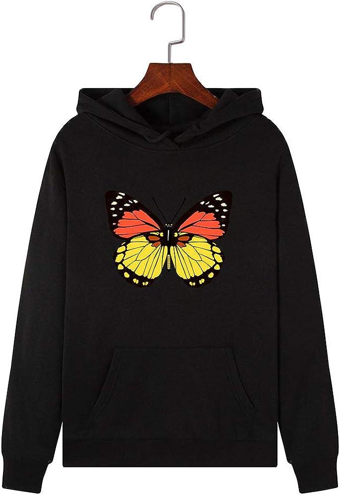 TianWlio Damen Schmetterling Kapuzenpullover Pullover Pulli Hoodie Sweatshirt mit Kapuze Tasche Sweater Jacke Mantel Langarm f/ür Frauen Oversize Herbst Winter Locker Fit Warm