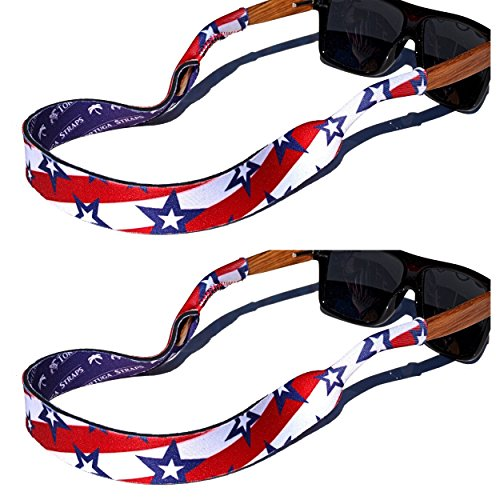 Glass Hardy (TORTUGA STRAPS FLOATZ Sports Fit Glasses Strap, Stars & Stripes - 2 Pk | Floating Adjustable Sunglass Straps | Soft & Comfortable Dual Sided Fabric | 3MM Neoprene Base - Added Durability | Easy Fit)