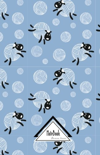 Notebook Journal Dot-Grid,Graph Grid,Lined,Blank No lined: Black Sheep Knitting Wool Craft Cartoon Blue Pattern: Small Pocket Notebook Journal Diary, 120 pages, 5.5