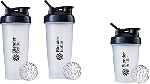 BlenderBottle Classic Loop Top Shaker Bottle, 28-Ounce 2-Pack, Clear/Black & Classic Loop Top Shaker Bottle, 20-Ounce, Clear/Black/Black