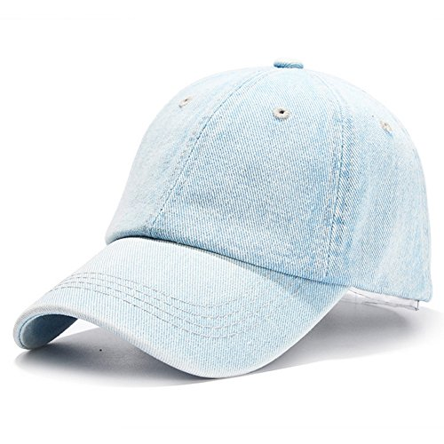 HH HOFNEN Unisex Cotton Denim Baseball Cap Adjustbale Sports Hats (Light Blue)