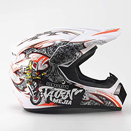 Amazon.com: Ocamo Full Protection Off Road Casco Motorcycle Moto Dirt Bike Motocross Racing Helmet White 4 S: Automotive
