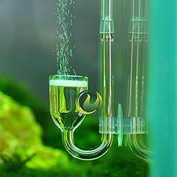FOCUSPET 1pcs CO2 Carbon Dioxide Nano Glass Diffuser for Plant Aquarium Tank with Sucker Cup