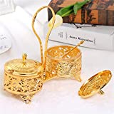 Gold Glass Liner Decorative Condiment Server Set with Lids Spoons Spice Seasoning Containers Organizer Bowls Cup/Box/Po Garnish Sugar Jar Set with Ring Feet for Wedding Hotel Party Supply(Set of 2)