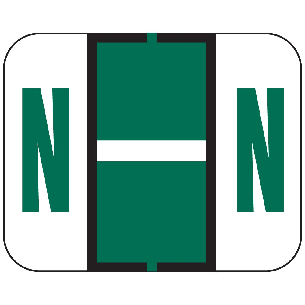 TAB COMPATIBLE TPAM-N 1838 Permanent Color Code Label, Alphabet, ''N'', 1 1/4'' x 1'', Dark Green (Pack of 500)