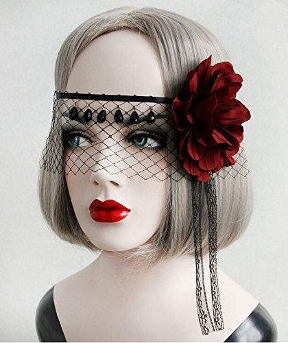 (Black Devil Half Face Lace Veil Mask Tiara Headdress/headpiece with Big Red Rose)