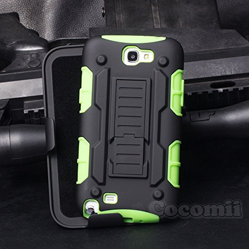 Galaxy Note 2 Case, Cocomii Robot Armor NEW [Heavy Duty] Premium Belt Clip Holster Kickstand Shockproof Hard Bumper Shell [Military Defender] Full Body Dual Layer Rugged Cover Samsung N7100 (Green)