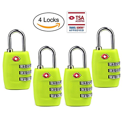 TSA Luggage Locks (4Pack) - 3 Digit Combination Padlocks - Approved Travel Lock for Suitcases & Baggage (Green)