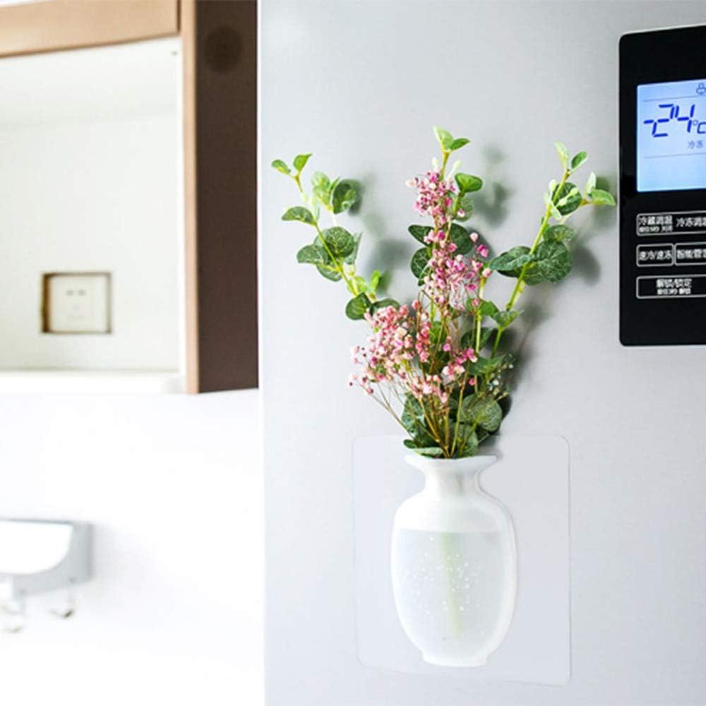 b/âton de Vase Suspendu r/éutilisable sur Le Mur r/écipient de Fleur de vases /à Fleurs en Silicone pour Salle de Bain f/ête d/écoration de Bureau Vase de Fleur Collante en Silicone Mariage