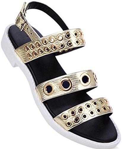 Rivets Cuir Laruise De Rivets Femmes Cuir De Plate L'or Plate De L'or Sandale Sandale De rBwrnqx6